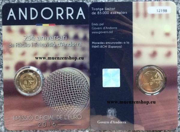 2 Euro Andorra 2016 25 Jahre Rundfunk in Andorra - BU