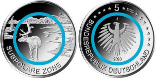 5 Euro Deutschland 2020 - Subpolare Zone - Stempelglanz - Prägestätte unserer Wahl