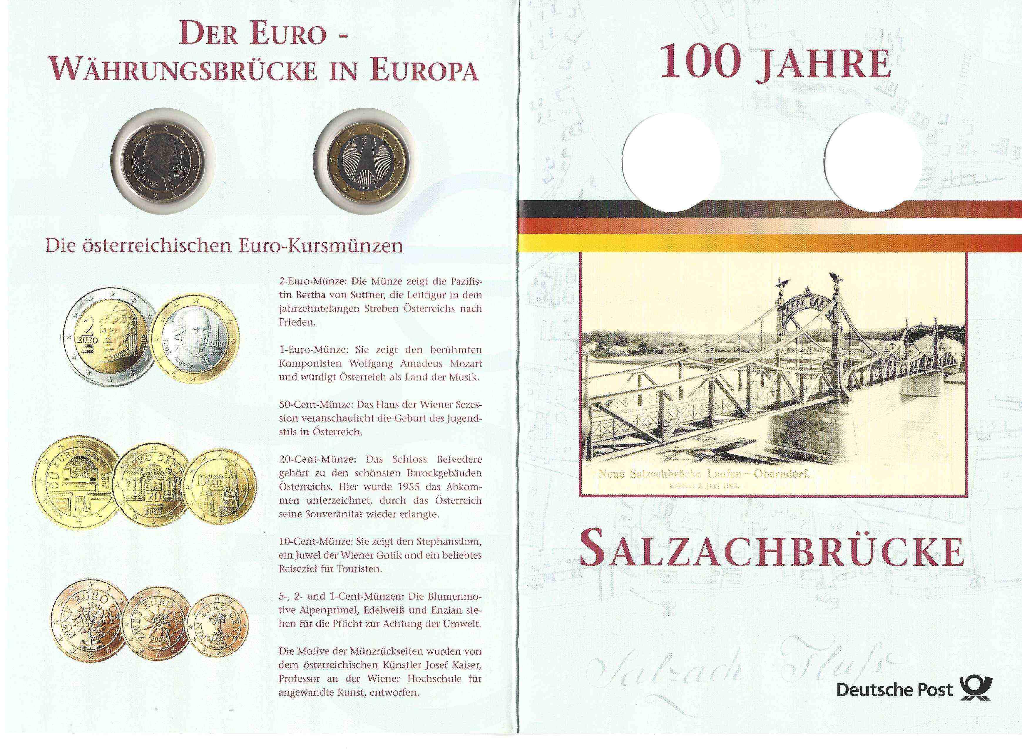 Gedenkblatt 100 Jahre Salzachbrücke Muenzenshopeu
