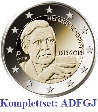 2 Euro Gedenkmünzen Deutschland 2018 - Helmut Schmidt - ADFGJ Komplettset in unzirkulierter Qualität