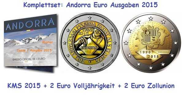 Komplettset Andorra Euro Ausgaben 2015
