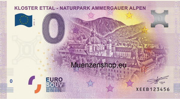 0 Euro Banknote Kloster Ettal - Ammergauer Alpen
