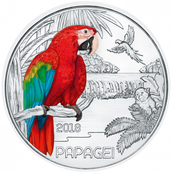 3 Euro Tiertaler Papagei 2018