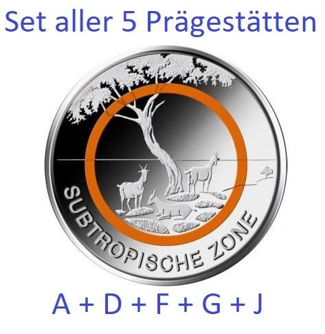 5 Euro Deutschland 2018 - Subtropische Zone - Stempelglanz - Komplettset ADFGJ