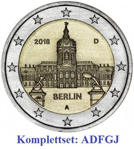 2 Euro Gedenkmünzen Deutschland 2018 - Schloss Charlottenburg - ADFGJ Komplettset in unzirkulierter