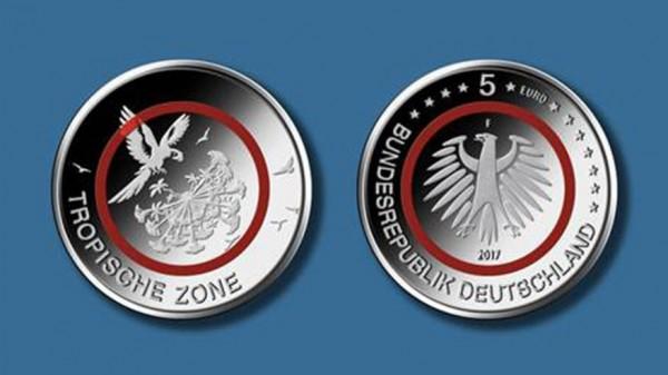 5 Euro Deutschland 2017 - Tropische Zone - Stempelglanz - Prägestätte unserer Wahl