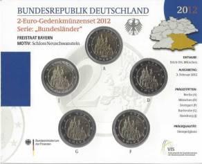 2 Euro Gedenkmünzenset Deutschland 2012 - Schloss Neuschwanstein