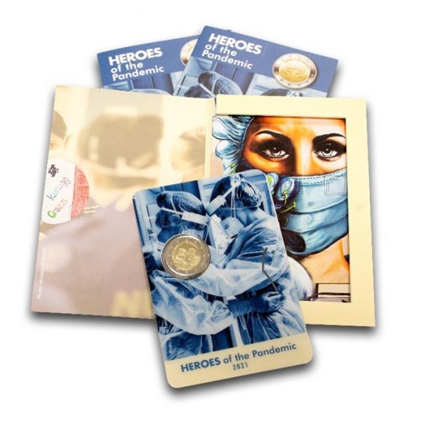 2 Euro Malta 2021 - Helden der Corona / Covid-19 Pandemie - Coincard