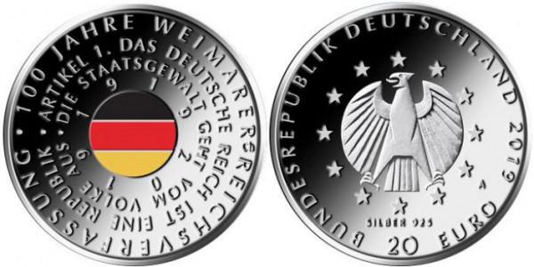 20 Euro Deutschland 2019 - Weimarer Reichsverfassung - Stempelglanz - erste Farbmünze aus Deutschlan