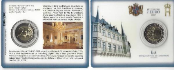 2 Euro Luxemburg 2007 Herzoglicher Palast Coincard