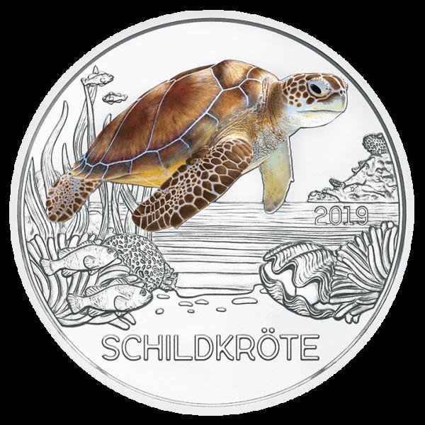3 Euro Tiertaler Schildkröte 2019