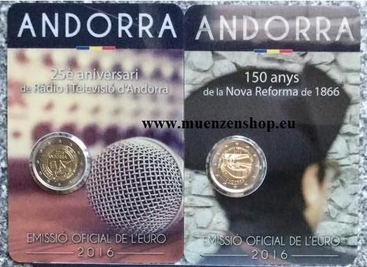 Komplettset 2 Euro Andorra 2016 - Neue Reform + Rundfunk