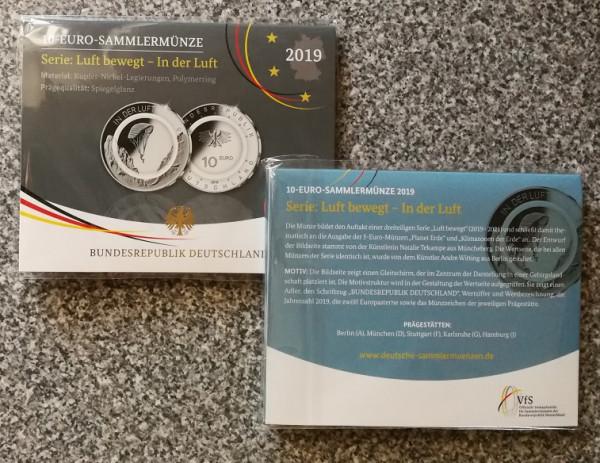 10 Euro Deutschland 2019 - In der Luft - Spiegelglanz - Prägestätte auf Wunsch wählbar