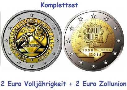 Komplettset 2 Euro Andorra 2015 - Volljährigkeit & Zollunion