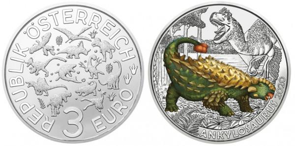 3 Euro Tiertaler Ankylosaurus 2020