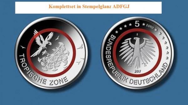 5 Euro Deutschland 2017 - Tropische Zone - Stempelglanz - Komplettset ADFGJ